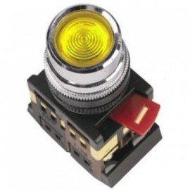 Кнопка ABLF-22 желтый d22мм неон/240В 1з+1р IEK