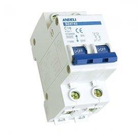 Автоматический выключатель ANDELI DZ47-63/2P 16A 4.5kA х-ка C
