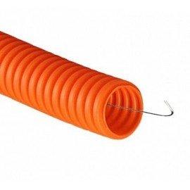 Труба гофрированная ПНД 16 мм с протяжкой тяжелая оранжевая DKC серии Octopus (100м)