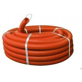Труба гофрированная ПНД 16 мм с протяжкой легкая оранжевая Эконом (100м)