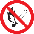 """Самоклеящаяся этикетка Ф180мм """"Запрещается пользоваться открытым огнем и курить"""" IEK"""