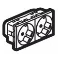 Legrand Mosaic 077252 Модуль розетки 2х2К+3 под углом 45° с защитными шторками,безвинтовые зажимы, проходной,белый