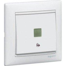 774415 Кнопка Белая Legrand Valena без фиксации с символом звонка с подсветкой