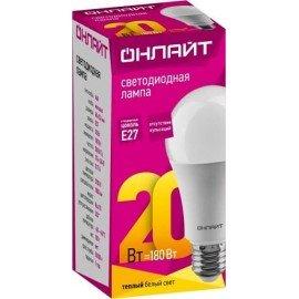 Лампа светодиодная ОНЛАЙТ OLL-A60-20-230-2.7K-E27