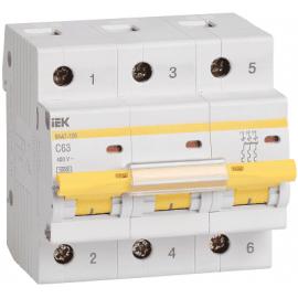 Автоматический выключатель ИЭК трехполюсный ВА47-100 3Р 50А 10кА (хар.С)