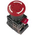 Кнопка AE-22 Грибок с фиксацией красная d22мм 240В 1з+1р IEK