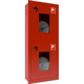 Ш-ПК-003-21ВОК (ПК-320-21ВОК) лев. Шкаф пожарный встроенный со стеклом красный ТОИР-М