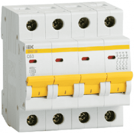 Автоматический выключатель ИЭК четырехполюсный ВА47-29 4Р 16А 4,5кА (хар.С)